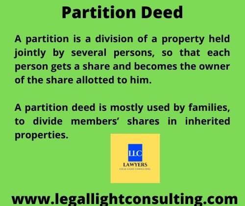 Partition deed by legal light consulting