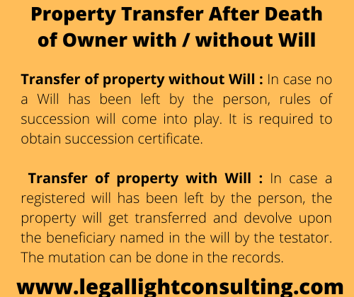 legal light consulting property transfer after death of the ownership